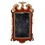 EARLY GEORGE III PARCEL-GILT MAHOGANY MIRROR 18TH CENTURY