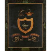 PAINTED WOOD ARMORIAL COACH PANEL 19TH CENTURY