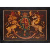 PAINTED WOOD COACH PANEL WITH THE ROYAL COAT OF ARMS 19TH CENTURY