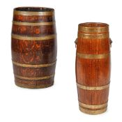 TWO OAK AND BRASS BANDED BARREL STICK STANDS LATE 19TH/EARLY 20TH CENTURY