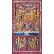 LARGE SILK EMBROIDERED WALL HANGING QING DYNASTY, 19TH CENTURY