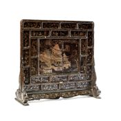 RARE MOTHER-OF-PEARL INLAID BLACK LACQUER 'PAVILION OF PRINCE TENG' SCREEN MING DYNASTY, 16TH-17TH