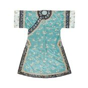 GREEN GROUND SILK EMBROIDERED LADY'S ROBE LATE QING DYNASTY-REPUBLIC PERIOD, 19TH-20TH CENTURY
