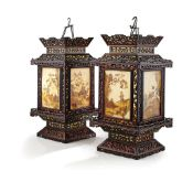 PAIR OF ZITAN AND REVERSE-PAINTED GLASS HANGING LANTERNS QING DYNASTY, 18TH-19TH CENTURY