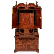 QUEEN ANNE WALNUT AND OAK BUREAU BOOKCASE EARLY 18TH CENTURY, AND LATER