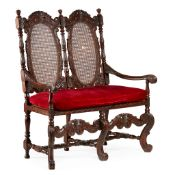 WILLIAM AND MARY STYLE WALNUT AND CANED HALL SEAT 19TH CENTURY