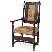 QUEEN ANNE STYLE CARVED AND STAINED OAK NEEDLEWORK ARMCHAIR 19TH CENTURY