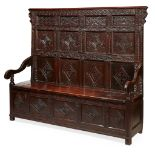 OAK CARVED PANELLED SETTLE 17TH CENTURY
