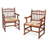 PAIR OF WALNUT NORTH COUNTRY 'DRUNKARDS' CHAIRS 18TH CENTURY