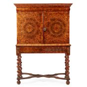 WILLIAM AND MARY WALNUT OYSTER VENEERED CABINET-ON-STAND LATE 17TH CENTURY