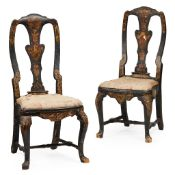 PAIR OF QUEEN ANNE JAPANNED SIDE CHAIRS EARLY 18TH CENTURY