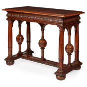 JACOBEAN STYLE OAK INLAID CENTRE TABLE 19TH CENTURY