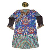 BLUE GROUND SILK EMBROIDERED COURT ROBE