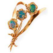 An opal set brooch