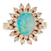 An opal and diamond set cluster ring