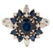 A sapphire and diamond set cluster ring