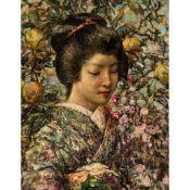 EDWARD ATKINSON HORNEL (SCOTTISH 1864-1933) JAPANESE GIRL WITH PEACHES