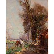 WILLIAM WATT MILNE (SCOTTISH 1865-1949) HORSES WATERING