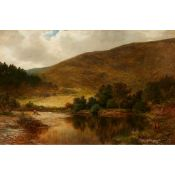 JAMES DOCHARTY A.R.S.A (SCOTTISH 1829-1878) A WOODED RIVER LANDSCAPE WITH RESTING FISHERMAN