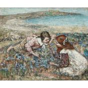EDWARD ATKINSON HORNEL (SCOTTISH 1864-1933) GATHERING BLUE-BELLS BRIGHOUSE BAY