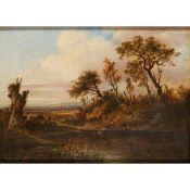 PATRICK NASMYTH (SCOTTISH 1787-1831) A WOODED RIVER LANDSCAPE TINTERN ABBEY IN THE DISTANCE