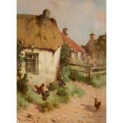 § ROBERT RUSSELL MACNEE R.G.I. (SCOTTISH 1880-1952) CHICKENS IN A FARMYARD