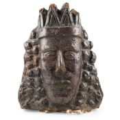 LARGE SALT-GLAZED EARTHENWARE BUST OF A KING, POSSIBLY JAMES II & VII 18TH/ EARLY 19TH CENTURY