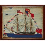 Y EARLY VICTORIAN WOOLWORK SHIP PICTURE MID-19TH CENTURY