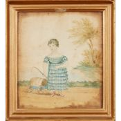 19TH CENTURY BRITISH NAIVE SCHOOL PORTRAIT OF A GIRL WITH HER CART