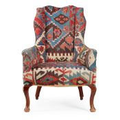 KILIM UPHOLSTERED SMALL WING ARMCHAIR EARLY 20TH CENTURY
