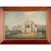 19TH CENTURY BRITISH NAIVE SCHOOL A VIEW OF HOLYROOD ABBEY, EDINBURGH