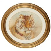 SILK EMBROIDERED PICTURE OF A TIGER'S HEAD LATE 19TH CENTURY
