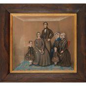 19TH CENTURY BRITISH NAIVE SCHOOL FAMILY GROUP PORTRAIT
