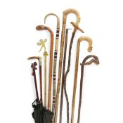 GROUP OF FOLK ART CANES 19TH/ EARLY 20TH CENTURY