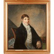19TH CENTURY BRITISH NAIVE SCHOOL HALF-LENGTH PORTRAIT OF A GENTLEMAN