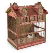 VICTORIAN HOUSE-FORM BIRDCAGE MID-19TH CENTURY