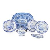 GROUP OF BLUE TRANSFER POTTERY DISHES EARLY 19TH CENTURY