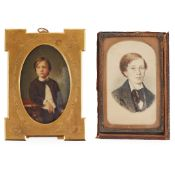 TWO PORTRAIT MINIATURES OF A BOY 19TH CENTURY