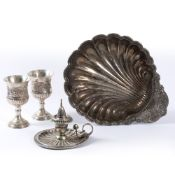 A PAIR OF SILVER PLATED GOBLETS, a scallop design chamber stick and snuff, a large silver plated