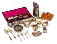 A MIXED LOT OF SILVER AND SILVER PLATE to include a silver sauce boat, 18cm wide; two Georgian