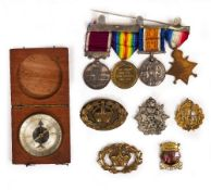 A CASED SET OF FOUR WORLD WAR I MEDALS awarded to 7403 Private J.F. Dingain. RIF. Brig. together