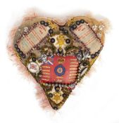 A WORLD WAR ONE SWEETHEART PIN CUSHION Condition: tassels coming loose at the edge, some staining