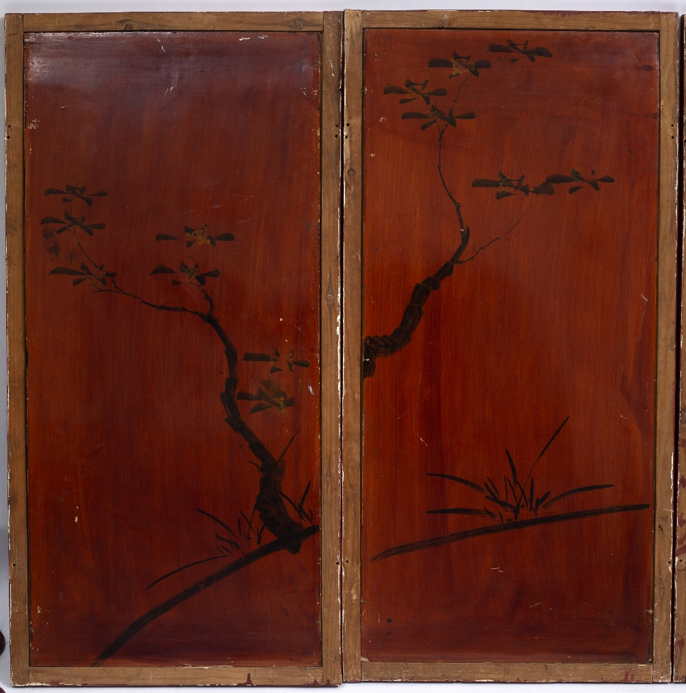 Lot 193 - A SET OF FOUR ORIENTAL LACQUERED MOTHER OF PEARL AND ABALONE SHELL INSET SCREEN PANELS depicting