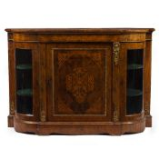 A VICTORIAN WALNUT AND SATINWOOD INLAID CREDENZA with gilt mounts, a central panel door flanked by