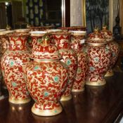 TEN MODERN CHINESE PORCELAIN VASES three with covers, of varying styles, all approximately 36cm in