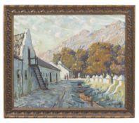 SYDNEY CARTER (1874-1945) An alpine street scene, oil on canvas, 49cm x 60cm, mounted in a gilded