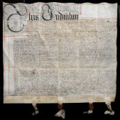 A 17TH CENTURY FRAMED INDENTURE ON VELLUM with two wax seals still attached, the frame 82cm square