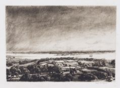 DAVID MUIRHEAD BONE (1876-1953) The Solent, etching, signed in pencil lower right, 17.5cm x 25m