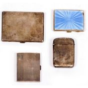 A SMALL QUANTITY OF SILVER CIGARETTE AND VESTA CASES with marks for Birmingham and London, one