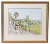 ANDREW MILLER A Country House Gardens, 43cm x 55cm; Jane Wagner, White Landscape, signed and
